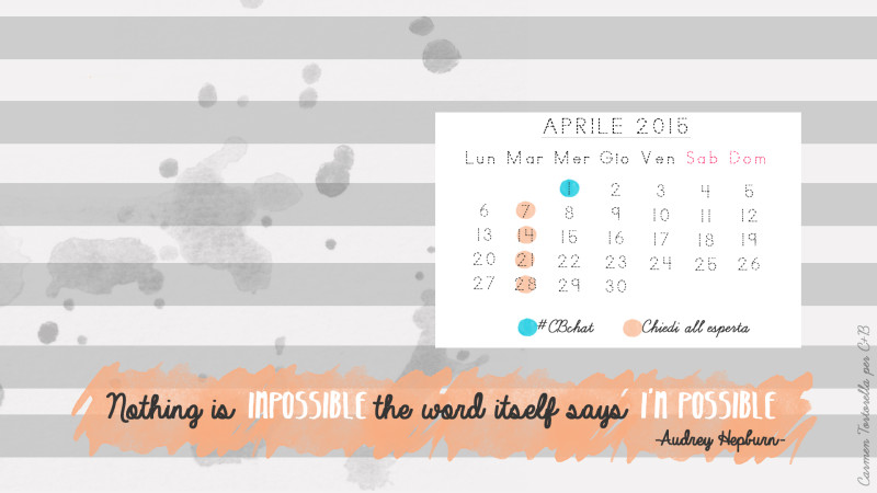Calendario desktop di Aprile per c+b