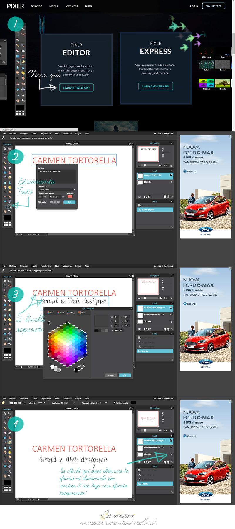 Pixlr editor come photoshop ma free e online carmen tortorella - A finestra carmen consoli testo ...
