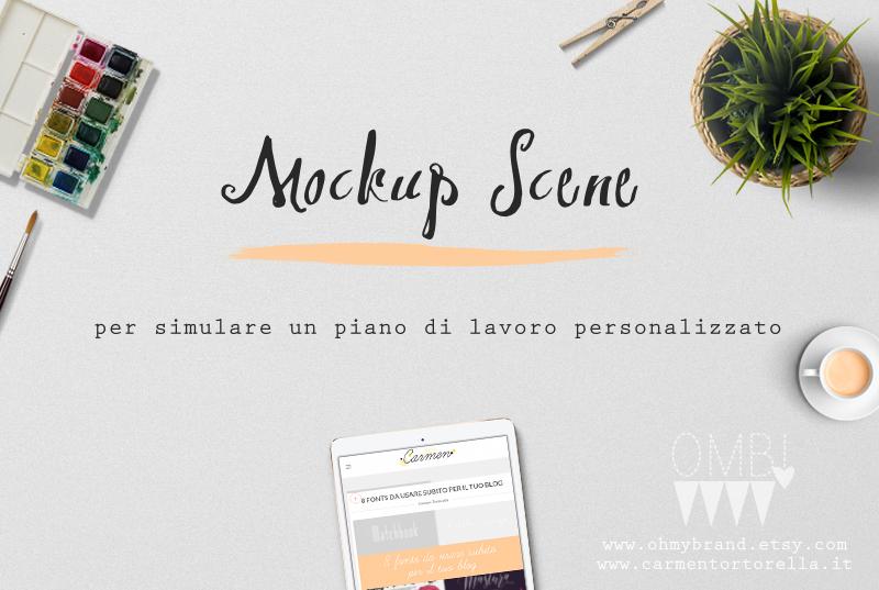 Mockup Scene per simulare un piano di lavoro personalizzato